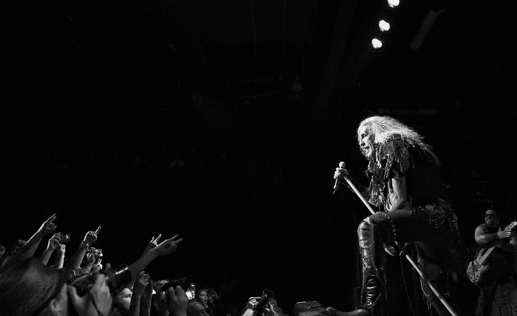 Black and white photograph of Dee Snyder of Twisted Sister singing at Nokia Theater New York