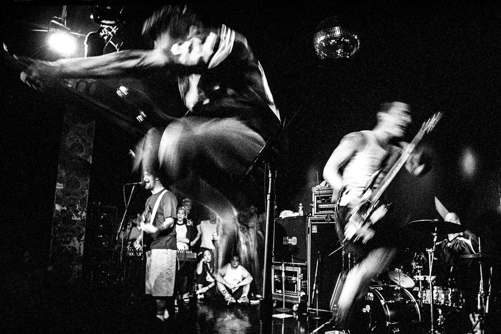Black and white photograph of H2O live at Karma club Boston