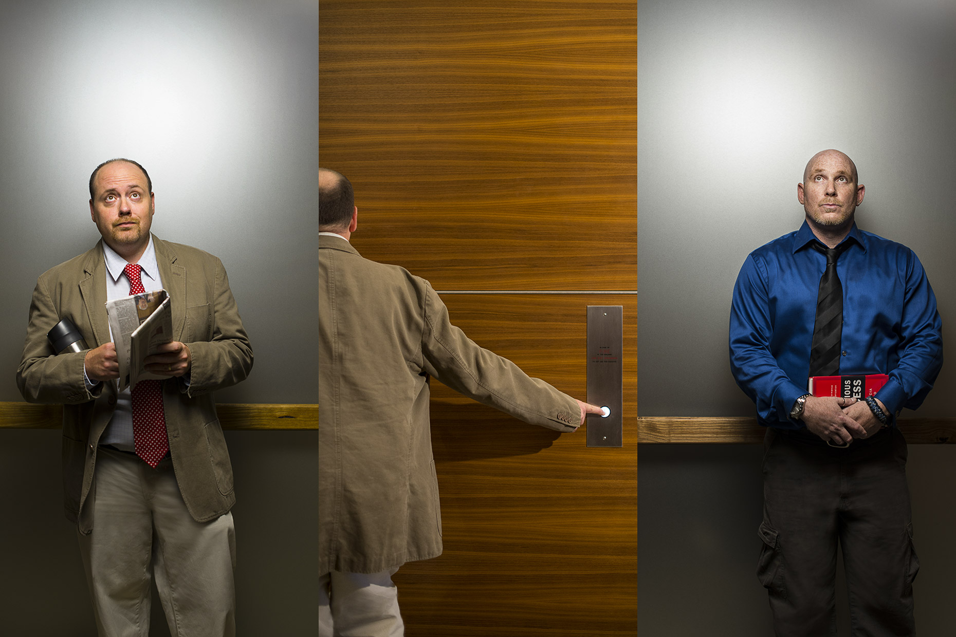 Men in corporate clothing using elevator